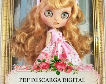 Patrones de costura vestido blythe, descarga digital instantánea pdf, tutorial costura blythe, patrón vestido blythe y diadema. En  Español