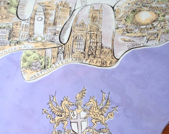 "Lovely Lavender Piccadilly Circus London Square Scarf -- 31"" Square -- Souvenir, Westminster, St Paul, England, Albert Hall"