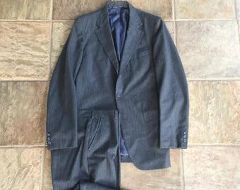 1960s Flannel Wool Gray Striped Sack Suit 38L 3/2 Roll Ivy League Trad