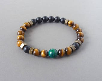 Men Bracelet, Tiger Eye, Stone Bracelet, Beaded Bracelet, Elastic Bracelet, Beads Bracelet, Gift for Him, Boyfriend Gift, Valentines Day