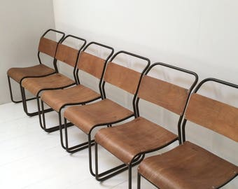 Original Industrial Vintage Chairs x 6 - Cafe / Bar