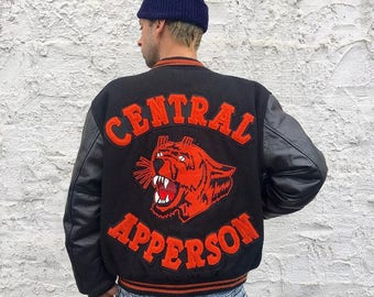 Vintage Tiger bomber Leather Jacket
