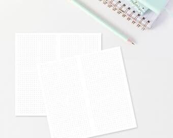 """Dot Grid Traveler's Notebook Printable, REGULAR Size, 11x21cm (4.3x8.25"""") Digital, Planner Printable, Planner Insert, TN Printable"""