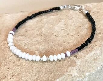 White black and purple bracelets, sterling silver bracelet, single strand bracelet, seed bead bracelet, dainty bracelet, coral bracelet
