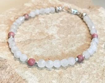 Pink bracelet, rhodonite bracelet, gemstone bracelet, mooonstone bracelet, Hill Tribe silver bracelet, sundance style bracelet, gift for her