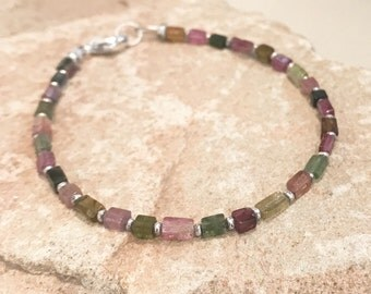 Multicolored bracelet, tourmaline bracelet, Hill Tribe silver bracelet, rectangle bead bracelet, sterling silver bracelet, gift for her