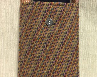 Welsh tweed phone case, cell case in rainbow and light brown