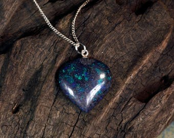 Andamooka Matrix Opal Pendant on Sterling Silver Chain Necklace
