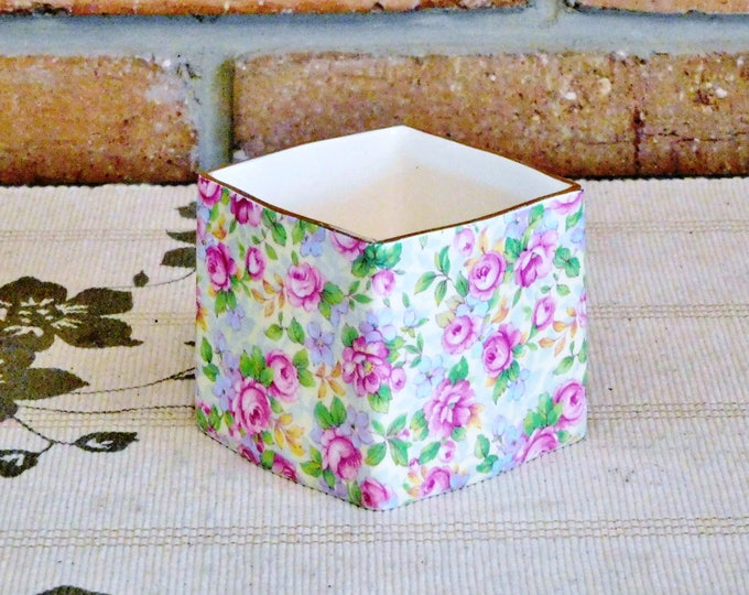 Featured listing image: Royal Winton 'English Rose' chintz 1940s square porcelain preserves jar, usable as cream or jam server, no lid