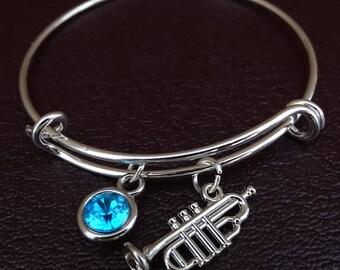 Trumpet Bracelet, Trumpet Bangle, Trumpet Charm, Trumpet Pendant, Trumpet Jewelry, Trumpet Gifts, Trumpet Girl,Trumpet Players,Marching Band