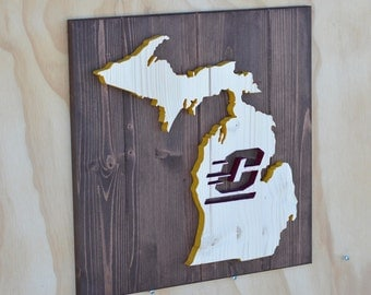 Central Michigan Chippewas Michigan State Wood Plaque Cutout