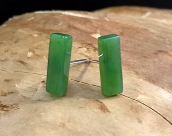 Canadian Nephrite Jade Earrings - Studs - Natural Jade - Earrings - Sterling Silver - Green Jade