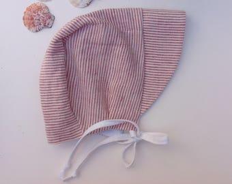 Baby bonnet, baby sunhat, linen sunhat, vintage style baby bonnet, retro baby bonnet, brimmed baby bonnet, free UK shipping