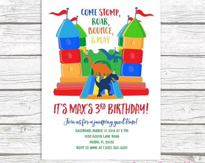 Dinosaur Bounce House Birthday Invitation, Bounce House Invitation, Dinosaur Invitation, Jump Party Invitation, Bounce House Invite
