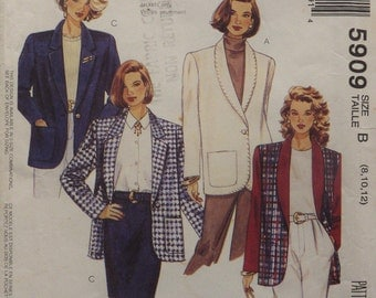 Sewing Pattern for Women Ladies Jacket  Size 8 10 12 McCall's 5909 90s Uncut 1992 Vintage Sewing Pattern