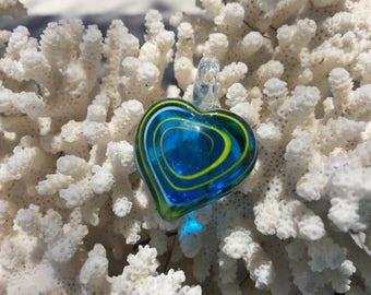 SUPPLY: Blue Murano Glass Heart Pendant/ Lampwork Pendants / Glass Heart  / Heart Charm /Blown Glass Pendant / 35x30x10mm. {C4-90#00699}