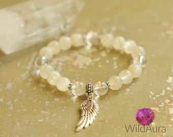 Archangel Haniel - Celestial Bracelet - Moonstone - Quartz - Gemstone Bracelet - Healing - Yoga - Zen - Spiritual - Angel - Jewelry