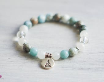Larimar Gemstone Bracelet - Calm - Serenity - Beaded Bracelet - Wrist Mala - Intention Bracelet - Gemstone Bracelet - Healing Jewelry