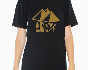Egypt, Pyramids, Sphinx, Eye of Horus on Black, White or Gray T-Shirt