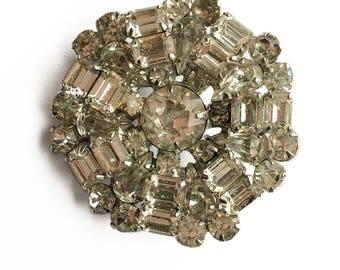 Rhinestone Cluster Brooch