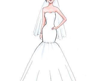 Custom bride and bridesmaids illustration wedding gift  bride illustration bridesmaids gift