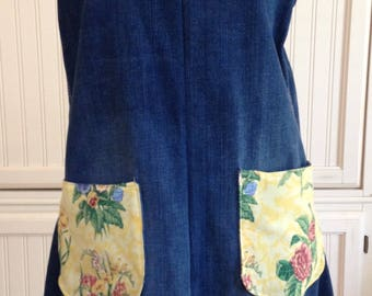 Denim full apron, women's denim apron dress, Yellow flowered ruffle, yellow ribbon ties, dark blue denim, shabby chic, upcycled denim
