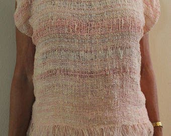 Hand-dyed, Hand-woven top with lace and ribbons