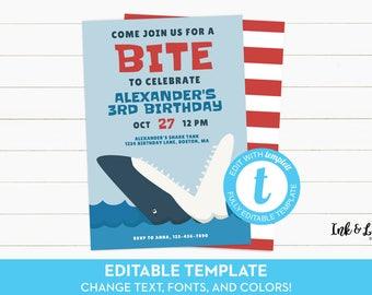 Shark Birthday Invitation - Shark Attack Birthday Party - Shark Birthday Invites - Printable Shark Birthday Party Invites - Template Invite