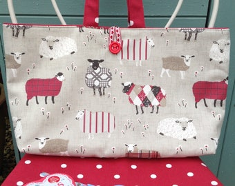Craft storage bag, knitting bag, sheep themed knitting project bag , knitting needle case, knitting bags  uk, gift for knitter,sheep gifts,