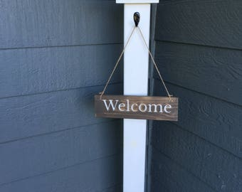 Welcome Sign with Post for Front Step or Porch