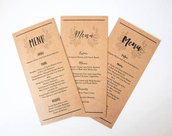 Wedding Menu Cards - Kraft Rustic Wedding Dinner Menus Printed