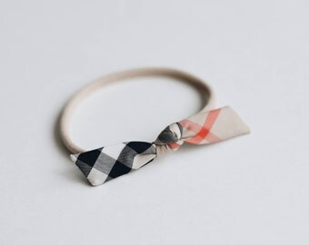 hand tied tiny knotted headband bow cotton choose your color