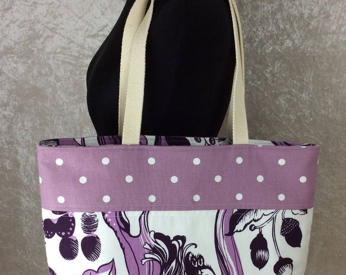 Woodland Owl and Squirrels Day Bag Tote fabric handbag shoulder bag purse butterfly Handmade in England