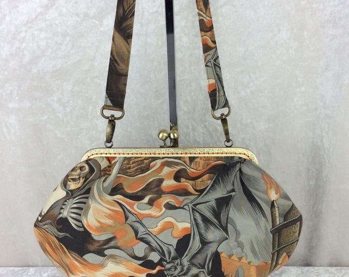 Gothic Skulls And Bats Grace frame handbag purse Heart of Darkness Alexander Henry fabric bag clutch handmade in England