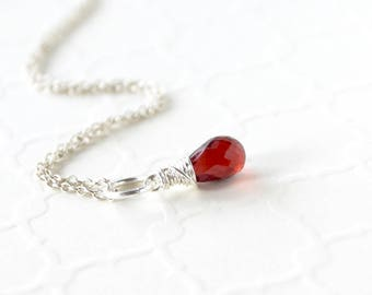 Mozambique Garnet Pendant - Sterling Silver Wire Wrapped Charm Dangle - Genuine Natural Red Garnet Jewelry - January Birthstone