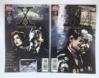 X-Files Comics, Deep Throat, Season One, 2 Variant Covers, Agents Mulder, Scully, Topps Comics, Mint Condition, Truth is Out There