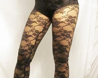 High waisted black lace leggings