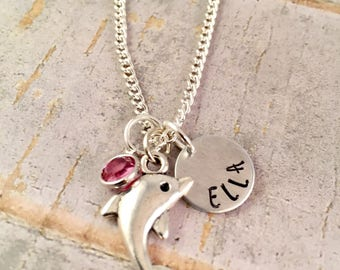Dolphin charm necklace, Personalized name necklace, dolphin necklace, for birthday, party favor, little girl jewelry, porpoise, ocean, beach