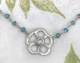 Silver Tiny Flower Necklace with CZ Diamond and Blue Topaz Chain | Fun Necklace | Nature Jewelry | Flower Jewelry | Blue Topaz Necklace