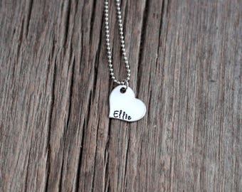 Stainless steel heart hand stamped mommy necklace