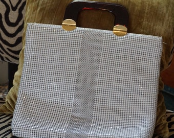 Vintage White Elka Metal Mesh Handbag with Tortoise Shell Lucite Handles/ Palm Beach Style/ Summer Handbag/ Purse