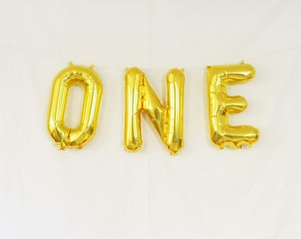"ONE gold letter balloon kit.  16"". 1st birthday balloon garland. First birthday party balloons.  First birthday decor. 1st birthday garland."
