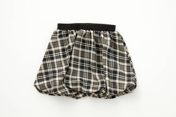 MARGUERITE - short bubble skirt, ball skirt, school skirt for kids: littles girls - grey with plaid, tartan print
