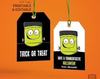 Halloween Gift Tags, Halloween Tags, Frankenstein, Monster, Halloween, Stickers, Gift Tags, Labels, Instant Download, Printable