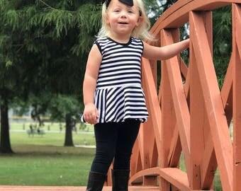 Black and White Striped Peplum, Monochrome, Girls Peplum, Peplum Top, Clothing, Sleeveless, Girls Clothing