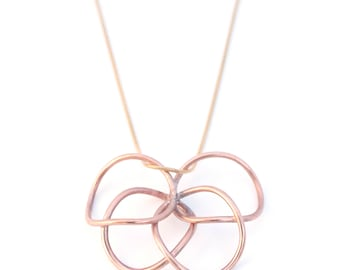 Circular Floral Pendant / Metalsmith Jewelry / Reclaimed Electrical Wire / Copper Circle Necklace / Cyclical Collection