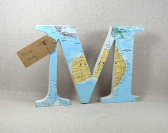 Map Letters, Mother's Day, Map Gift, Map Decor, Travel Decor, Travel Gift, Map Art, Hand painted, 20cm height + Free Gift Wrapping!