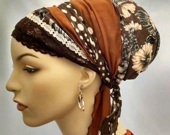 Feminine brown floral sinar tichel, tichels, chemo scarves, hair snoods, head scarves