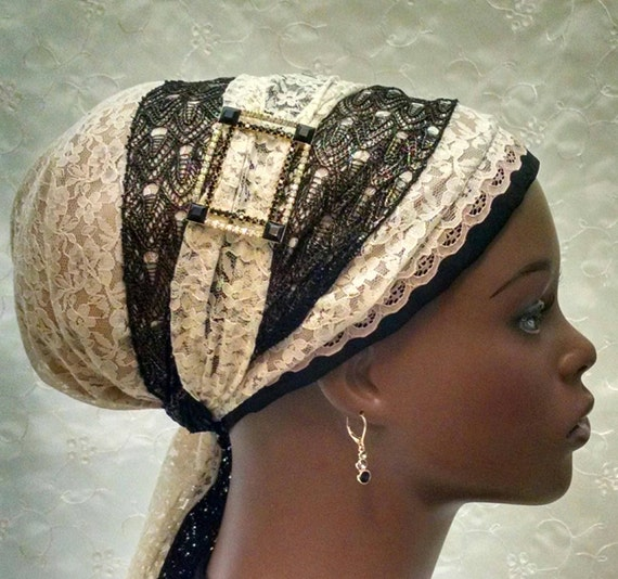 Very elegant lace sinar tichel, tichels, head scarf, Jewish head covering, hair snood, mitpachat, Headdress Designs, chemo scarves