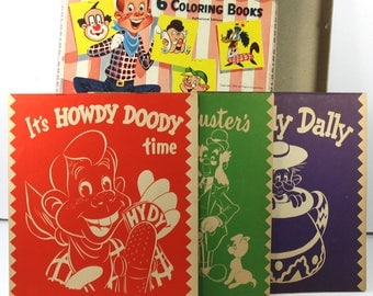 Vintage Howdy Doody Boxed Coloring Books- 1955 Whitman